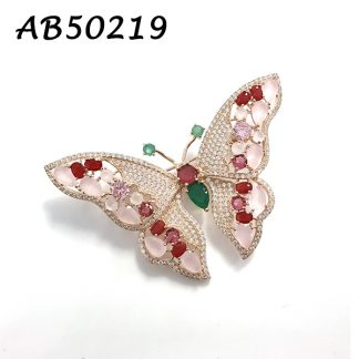 Pink Color Butterly Brooch - AB50219