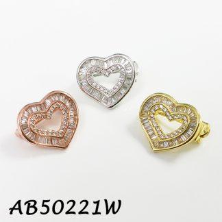 Heart Baguette CZ Brooch - AB50221W