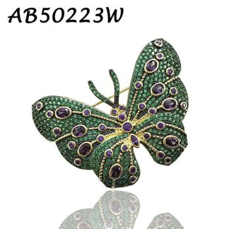 Butterfly Pave Emerald CZ Brooch - AB50223W