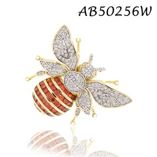 Bee Pave Color CZ Brooch - AB50256W