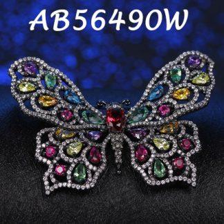 Butterfly Multicolor CZ Brooch - AB56490W