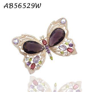 Butterfly Multicolor CZ Brooch - AB56529W