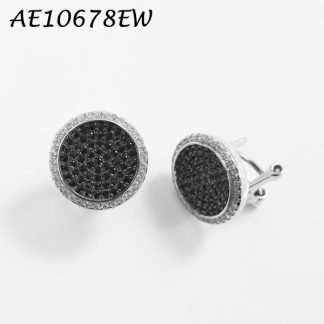 Large Button Disc Pave CZ Earring - AE10678EW