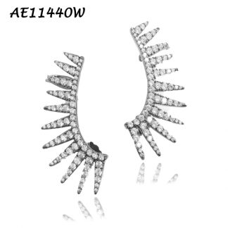 Spike Pave CZ Crawler Earring