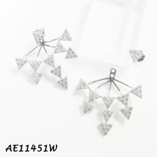Large Multi-Spike Pave CZ Front & Back Earring