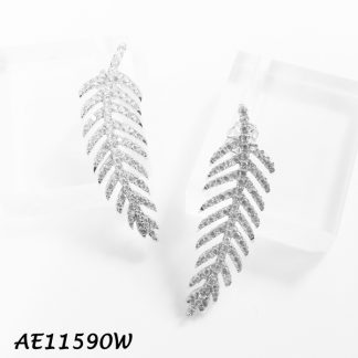 Feather Pave CZ Earring