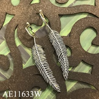 Feather Pave CZ Earring - AE11633W