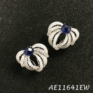 Bow Baguette Color CZ Earring