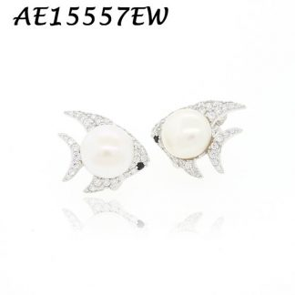 Fish White Pearl Multicolor & White CZ Pave Earring-AE15557EW