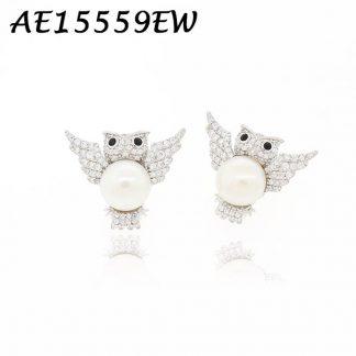 Owl White Pearl Pave CZ Earring-AE15559EW