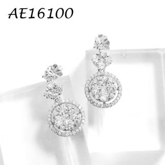 Round Drop Pave CZ Earring