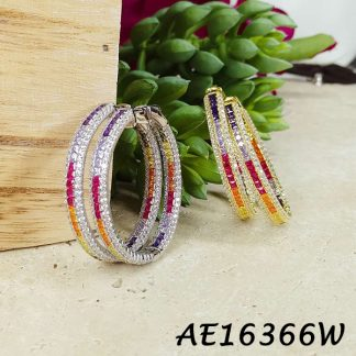 Colorful CZ Hoop Earring - AE16366W