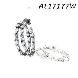 Multi Cut CZ Hook Earring - AE17177W