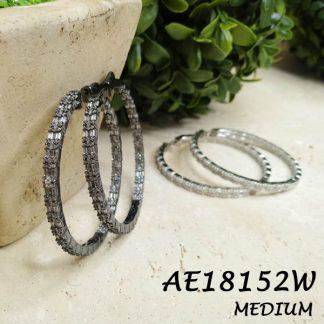Baguette CZ Round Medium Hoop Earring -AE18152W