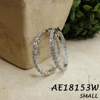 Baguette CZ Round Small Hoop Earring -AE18153W