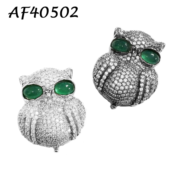Large Green Eyed Owl CZ Charm