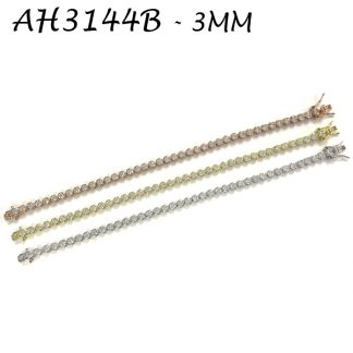 Bezel 3mm CZ Tennis Bracelet - AH3144B