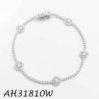4 Prongs Halo CZ Around Clear CZ Bracelet - AH312289W