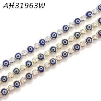 Evil Eye with Bezel CZ  Tennis Bracelet - AH31963W