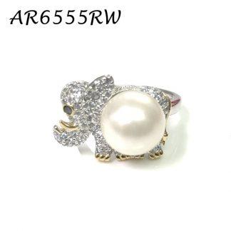 Elephant Pearl Pave CZ Ring - AR65555RW
