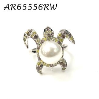 Turtle Pearl Pave Multicolor CZ Ring - AR65556RW