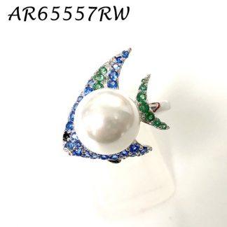 Fish Pearl Pave CZ Ring - AR65557RW