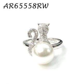 Kitty Cat Pearl Pave CZ Ring - AR65557RW