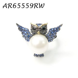 Owl Pearl Pave CZ Ring - AR65559RW