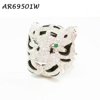 Panther Head Pave CZ with Black Enamel Ring - AR69501W