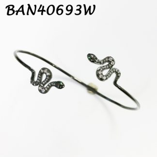 Double Snakes Pave Cuff Bangle