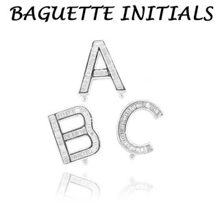 Baguette CZ Initial Letters Charms from A - Z