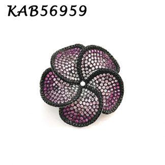 Flower Pave Color CZ Brooch - KAB56959