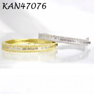 Large Channel Set Baguette and Pave CZ Bangle - KAN47076