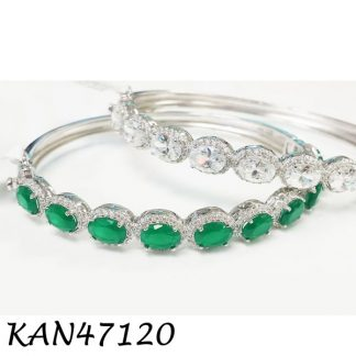 Oval Dazzling Color Stones Bangle - KAN47120
