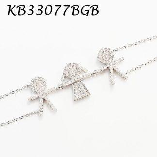 Boy Girl Boy Pave CZ Bracelet - KB33077BGB