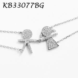 Boy & Girl Pave CZ Bracelet - KB33077BG