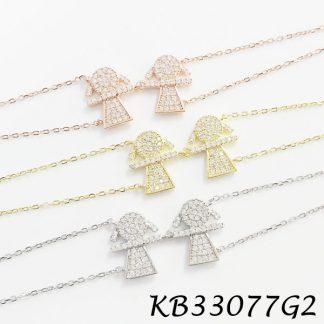 2 Girls Pave CZ Bracelet - KB33077G2