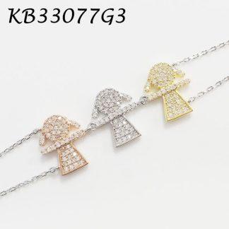 3 Girls Pave CZ Bracelet - KB33077G3