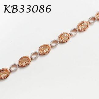 Morganite CZ Oval Halo CZ Bracelet - KB33086