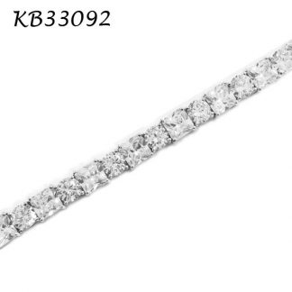 Princess & Round Brilliant Cut CZ Tennis Bracelet - KB33092