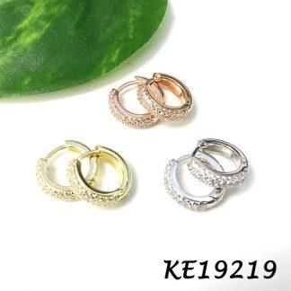 Small Pave CZ Huggie Earring-KE19219