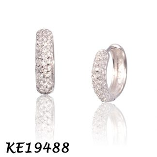 Medium Pave CZ Huggie Earring-KE19488