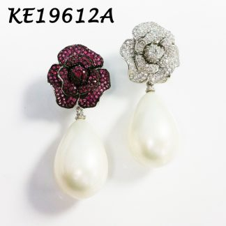 Rose Flower Pave with Large Tear Drop Shell Pearl  Earring - KE19612A