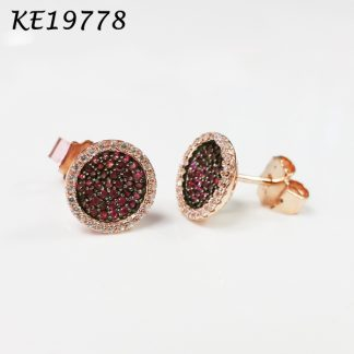 Baby Button Disc Pave Color CZ Earring - KE19778