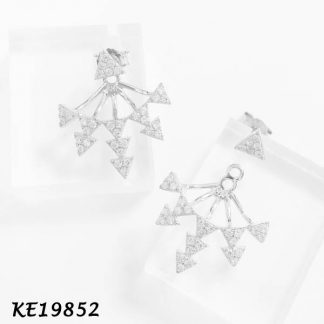 Small Multi-Spike Pave CZ Front & Back Earring