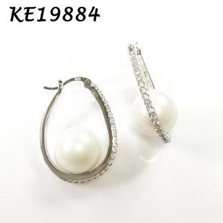 Pearl Oval CZ Hoop Earring-KE19884