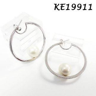 Pearl Round CZ Hoop Earring-KE19911