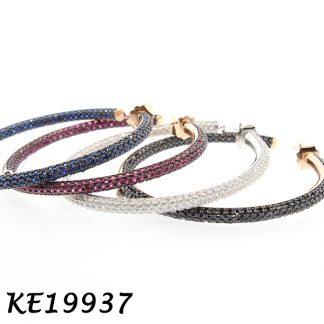 Pave Color CZ Hoop Earring-KE19937