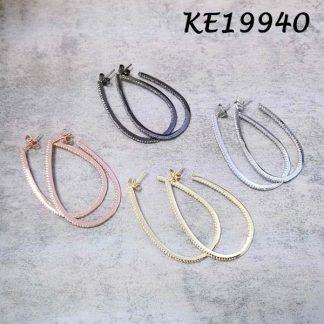 Medium Oval Pave CZ Hoop Earring-KE19940