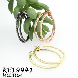 Medium Round Pave CZ Hoop Earring-KE19941